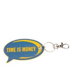 "DIESEL ""IRONIC IN-SIDE"" BLOOMM Keyring Charm Embossed 'TIME IS MONEY BE BRAVE'"