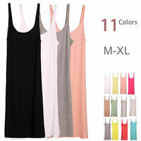 Layer Extra Long Stretchy Cami Tank Top Bandage Spaghetti Strap Mini Dress M-XL