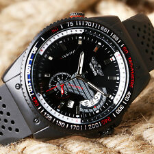 WINNER New Men's Sport Date Black Automatic Mechanical Wrist Watch Silicone Band
