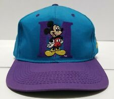Vintage Mickey Mouse Disney Blockhead Teal Purple Snapback Hat Cap