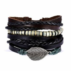 4Pcs/set Leaves Wood Beads Bracelet Men's Leather Bangle Jewelry Wristband Xmas