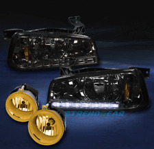 2006-2009 DODGE CHARGER DRL LED SMOKE CRYSTAL HEAD LIGHTS+YELLOW BUMPER FOG LAMP