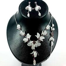 Flower Purple Rhinestone with Mesh Leaf Necklace,Bracelet & Earring set Wedding