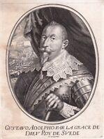Portrait XVIIe Gustave II Adolphe Roi De Suède Gustav II Adolf Moncornet
