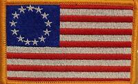 Betsy Ross Flag Patch W/ VELCRO® Brand Fastener Red Border White Stars US Gold