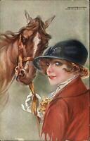 Santino Beautiful Woman Stunning Eyes Riding Outift Horse c1910 Postcard xst