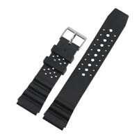 22mm Black Silicone Rubber Strap Sport Diver Waterproof Replacement Watch Band