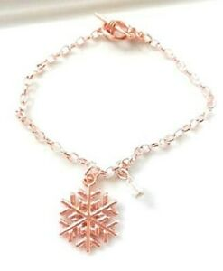 Friendship Charms Bracelet,Rose Gold Plated Snowflake Charm Bracelet