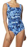 Speedo Womens Swimwear Blue 14 Endurance+ Shirred Square Neck One-Piece $88 278