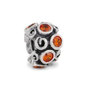 Pandora Sterling Silver Primrose Path Orange CZ Charm 790330OCZ NEW