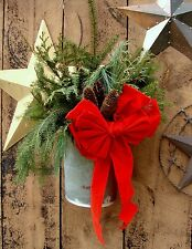 Vintage VERMONT Maple Sap Bucket~Pines, Bow, Pine Cones~Christmas Holiday Decor!