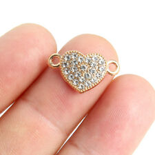10x Gold Plated Crystal Heart Shaped Connector Charm Beads 19*11mm Jewelry Craft