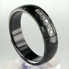 BLACK TITANIUM RING with CZ STONES, sizes 9, 10, 11, 12, 13 - NEW - In Gift Box!