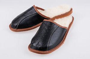 Mens Sheepskin Slippers Mule Shoes Warm Leather Wool Size 6 7 8 9 10 11 12