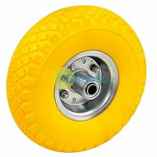 "10"" Yellow Puncture Burst Proof Solid Rubber Sack Truck Trolley Wheel & Axle"