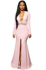 Pink Jewelled Waist Long Dress Club Wear Fashion Evening Wear Size  M L