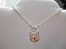 Tiffany &Co Large Padlock Arc Lock Rare Shape Pendant 4 Necklace Bracelet Silver