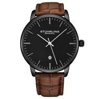 Stuhrling 3997XL 5 Quartz Date Brown Embossed Leather Strap Mens Watch