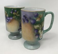 Set of 2 Vintage Hand Painted Green Porcelain Mugs w/ Purple Berries Signed