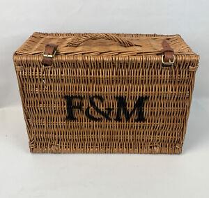Fortnum and Mason medium / large picnic hamper wicker basket great cond Storage