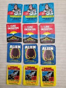 12 1978-9 Topps Wax Pack Wrappers Alien Close Encounters Moonraker Battlestar