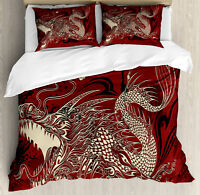 Eastern Duvet Cover Set with Pillow Shams Japanese Dragon Doodle Print