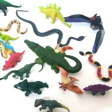 Dinosaurs Snakes Archaeopteryx Toys Assortment Bag Hard Plastic Cleaned