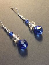 Art Deco vintage style blue/ clear crystal 925 sterling silver earring hooks