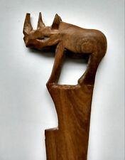 """11 3/4"""" Wood Rhino Rhinoceros Collectible Animal Letter Opener"""