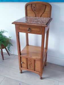 Beautiful Antique French Aerolite Marble Topped Bedside Cabinet / Pot Cupboard