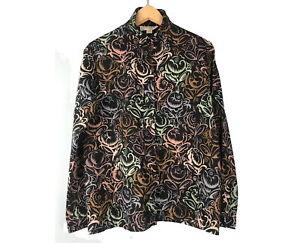 Jaeger black patterned shirt blouse 10/12 Pure wool Long sleeves Vintage