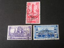 *ITALY, SCOTT # 265-267(3), COMPLETE SET 1931 50TH. ANNIV ROYAL NAVAL USED