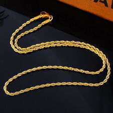 1PC Fashion Stainless Steel Twisted Rope Chain Gold Plated Necklace 56cm