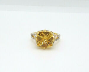 Victoria Wieck Sterling Silver Gold Overlay Fancy Cut Square Citrine Ring sz 9