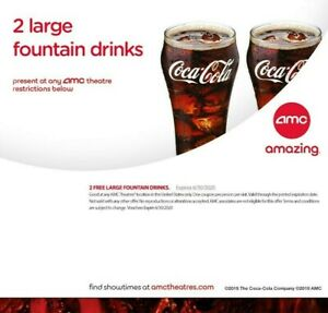 AMC 2 Large Fountain Drinks, Expires 6/30/2020 - INSTANT DELIVERY