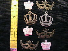 8 VICTORIAN STEAMPUNK CROWNS & MASKS~Tibetan silver~bronze CHARMS~PENDANTS