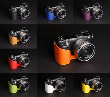 Genuine Real Leather half Camera Case Camera bag for SONY NEX6 NEX-6 10 colors