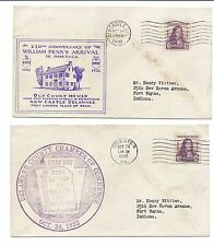 US First Day Cover FDC Lot of 2 - William Penn SC 724 - October 24, 1932