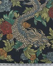 Drapery Upholstery Fabric Linen-Look Slub Asian Flowers & Dragons - Navy