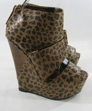 "Brown Cheetah Print 6"" Wedge Heel 2"" Platform Open Toe Sexy Shoes Size 6"