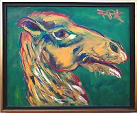 Felix Pfefferkorn *1945: Kamel 1977 Acryl 50 x 60 cm Ausstellung seltenes Motiv