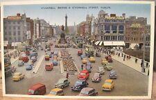 Irish Postcard O'CONNELL STREET BRIDGE Liffey Dublin Bendigo ETW Dennis 1960s
