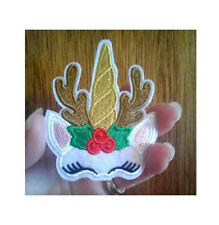 Unicorn - Christmas - Reindeer - Mythical - Pegasus - Iron On Applique Patch