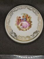 "Porcelaine D'art Limoges France 3"" Trinket Box/Lid Courting Couple White w/Gold"