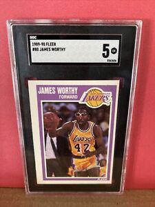 1989-90 Fleer Basketball James Worthy #80 SGC 5 NM Graded Card Lakers