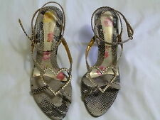 Ladies Fashion Sandals Leather Heels Claudina Size 38 Tan Diamante heart