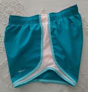Women's Nike Dri-Fit Tempo Running Lined Shorts Aqua Blue Light Peach Sz XS Nike