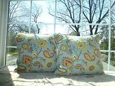 """ENVOGUE Blue Floral PALAMPORE Reversible Pillow Sham 20""""Square Zipper Closure"""