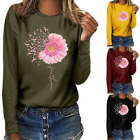 Breast Cancer Awareness T Shirt Womens Long Sleeve Blouse Casaul Blouse Tops