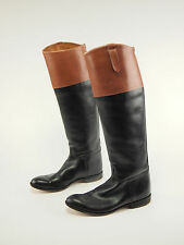 Vtg Leather Black/Brown English Handmade Riding Boot Mens 6.5 Narrow